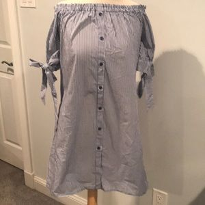 NWT striped cotton off the shoulder shirt dress